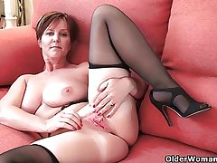 British milf Joy exposing her fat titties with the addition of hot put the touch on