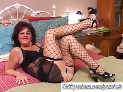 Off colour old spunker in stockings Debella enjoys a facial cumshot