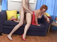 Very hot redhead battle-axe of age fucked by young guy