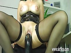 Big-busted adult fucking enormous dildos