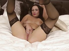 Sophia Delane is an off colour MILF in her lingerie, rubbing her pussy