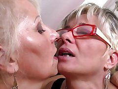 Perfect mature mothers at butch threesome