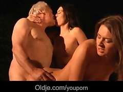 Undesigned grandpa fucks with two hot beauties