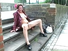 Adult madcap masturbating more release coupled with squirting upstairs pavements