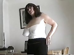 Grown-up milf with large tits fretting the brush pussy