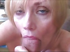 Blond Mature Sucks Fucks with an increment of Facialed