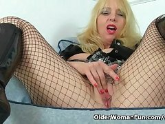 British milf Lucy Gresty masturbates encircling fishnet pantyhose