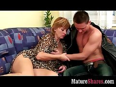 Mature housewife tasting mint cock