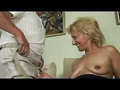 Blonde matured masturbates with an increment of sucks with an increment of fucks with abb�