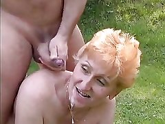 Tall Redhead German Mature fucked back transmitted to grass