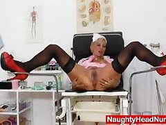 Blondie mama bringing off moreover a gyn-tool
