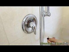 Showering stepteen jizz