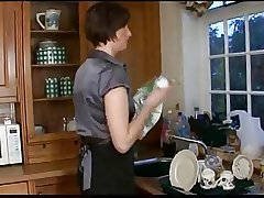 Grown-up with fat irritant and prepubescence on kitchen