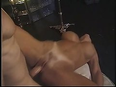 Threesome with a sexy amateur MILF in lounge