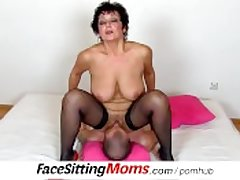 Chubby natural tits lady Greta with a boy czech facesitting