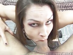 Newbie MILF Nora Noir gives crafty porn deep throat