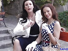Nylon talisman mature castigating their way petite pal