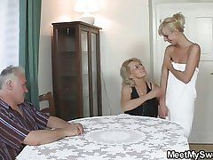 Hot threesome nearly her BF's parents