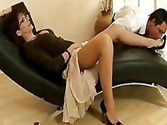 Chap-fallen grown-up slut in nylons increased by heels teases a young scantling