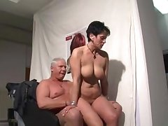 German mature woman sucking with an increment of riding a guy